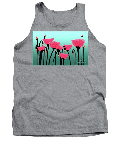 Expressive Red Pink Green Poppy Painting Y1a Tank Top