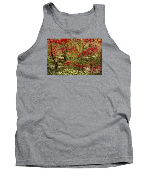 Fall Color In The Japanese Gardens Tank Top by Barbara Bowen