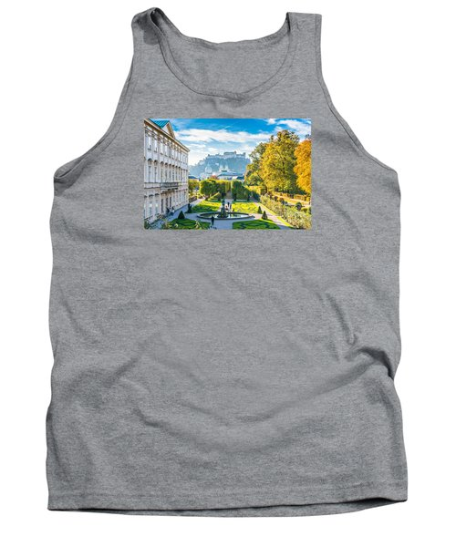 Famous Mirabell Gardens With Historic Fortress In Salzburg, Aust Tank Top
