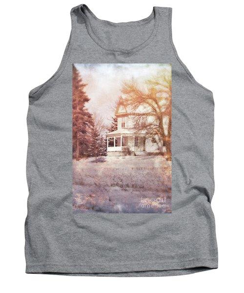 Tank Top featuring the photograph Farmhouse In Snow by Jill Battaglia