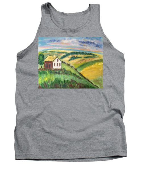 Farmhouse On A Hill Tank Top by Diane Pape