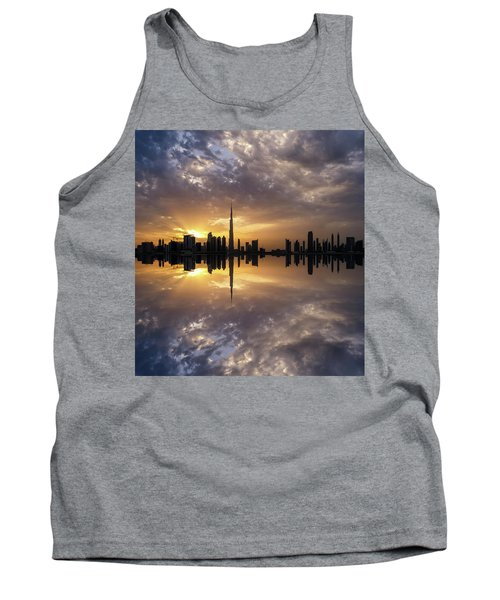 Fascinating Reflection In Business Bay District During Dramatic Sunset. Dubai, United Arab Emirates. Tank Top