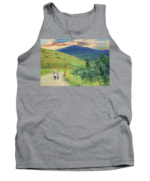 Father And Children Walking Together Tank Top