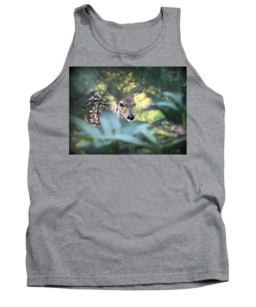 Fawn Peeking Through Bushes Tank Top