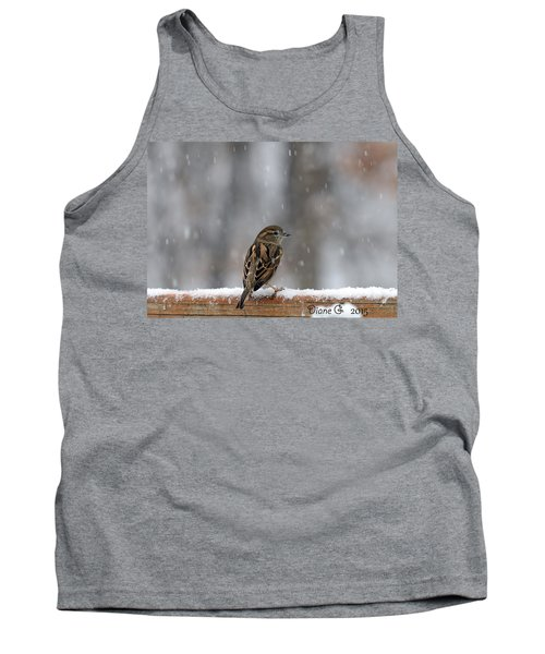 Female Sparrow In Snow Tank Top by Diane Giurco