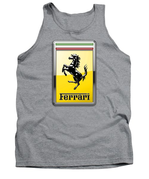 Ferrari 3d Badge- Hood Ornament On Yellow Tank Top