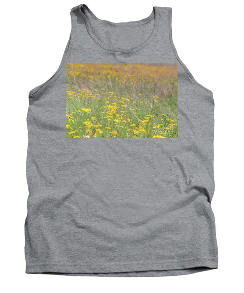 Field Of Yellow Flowers In A Sunny Spring Day Tank Top