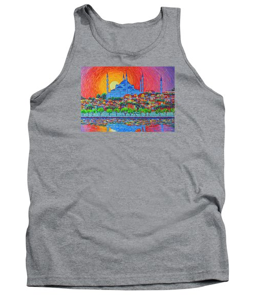 Fiery Sunset Over Blue Mosque Hagia Sophia In Istanbul Turkey Tank Top