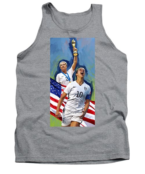 Tank Top featuring the painting Fifa World Cup U.s Women Soccer Carli Lloyd Abby Wambach Artwork by Sheraz A