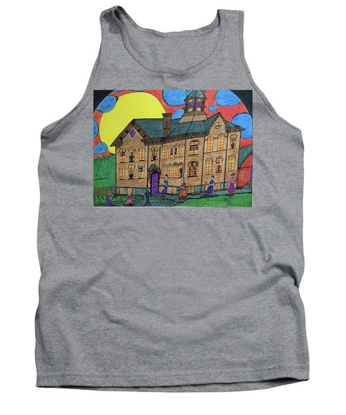 Tank Top featuring the drawing First Menominee High School. by Jonathon Hansen