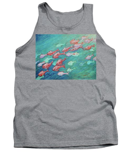 Tank Top featuring the painting Fish In Abundance by Xueling Zou