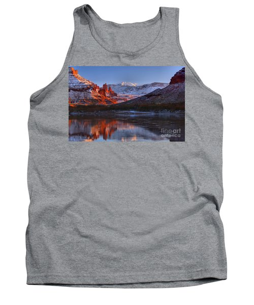 Tank Top featuring the photograph Fisher Towers Glowing Reflections by Adam Jewell