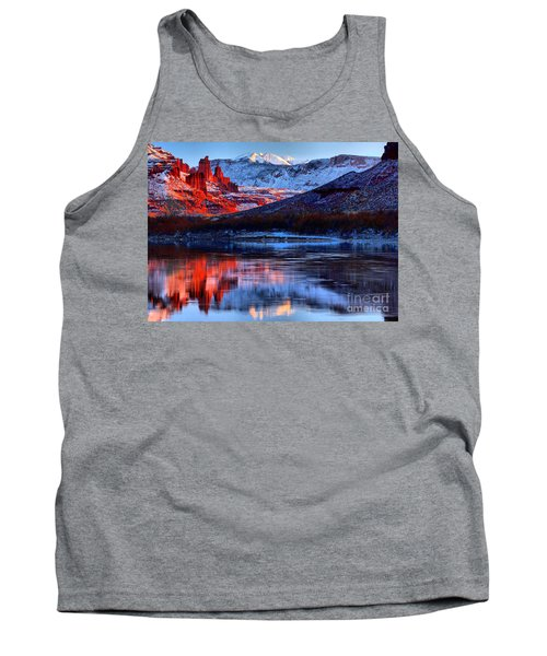 Tank Top featuring the photograph Fisher Towers Sunset Winter Landscape by Adam Jewell