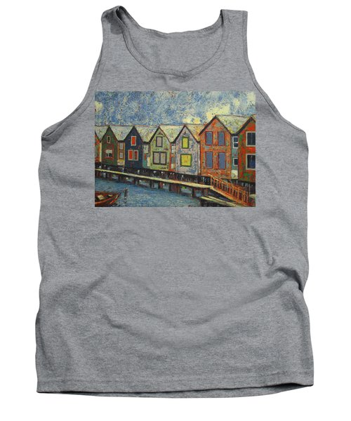Tank Top featuring the painting Fishermen Huts by Walter Casaravilla