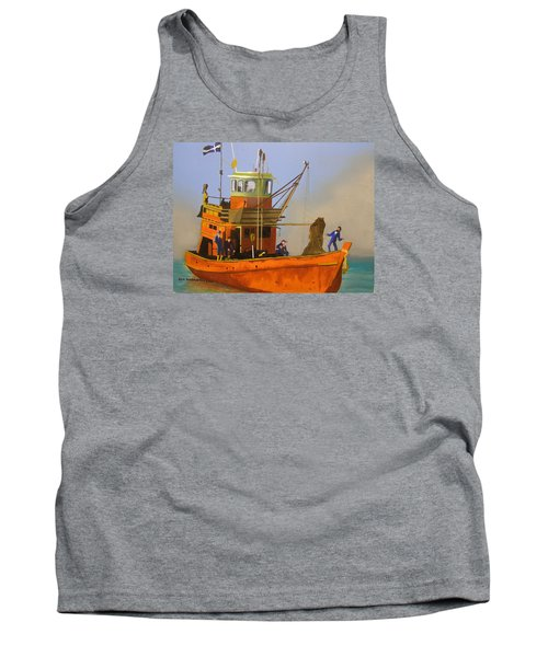 Fishing In Orange Tank Top