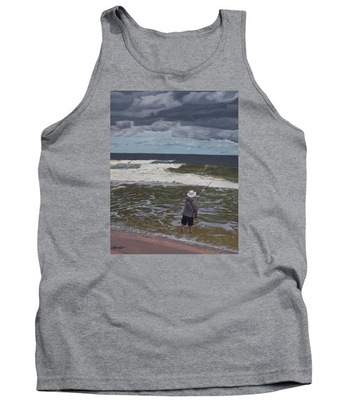 Fishing The Surf In Lavallette, New Jersey Tank Top by Barbara Barber