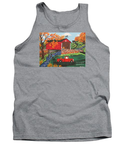 Tank Top featuring the painting Fishing Under The  Covered Bridge by Jeffrey Koss