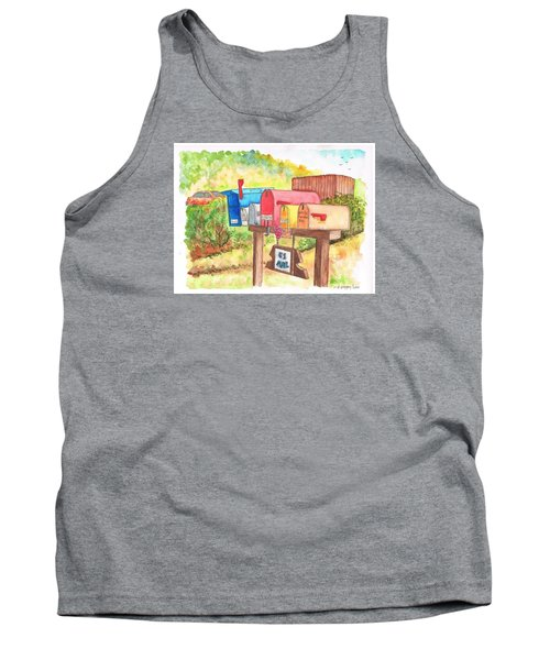 Five Mail Boxes In Route 1, San Simeon, California Tank Top