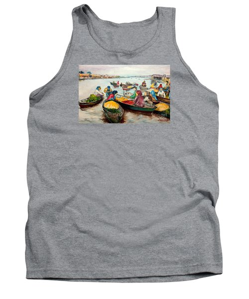 Tank Top featuring the painting Floating Market by Jason Sentuf