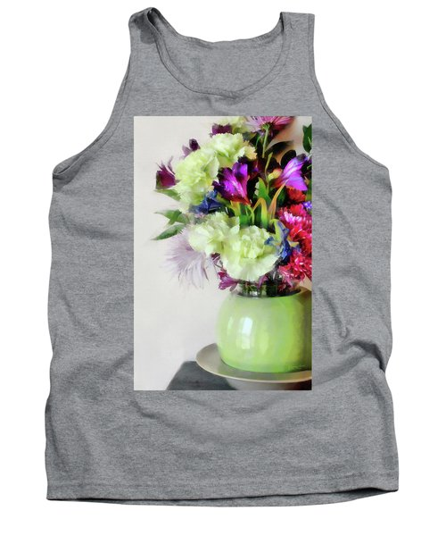 Floral Bouquet In Green Tank Top