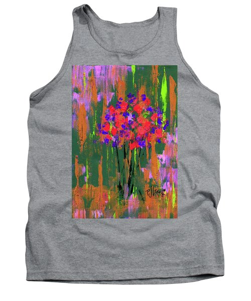 Tank Top featuring the painting Floral Impresions by P J Lewis