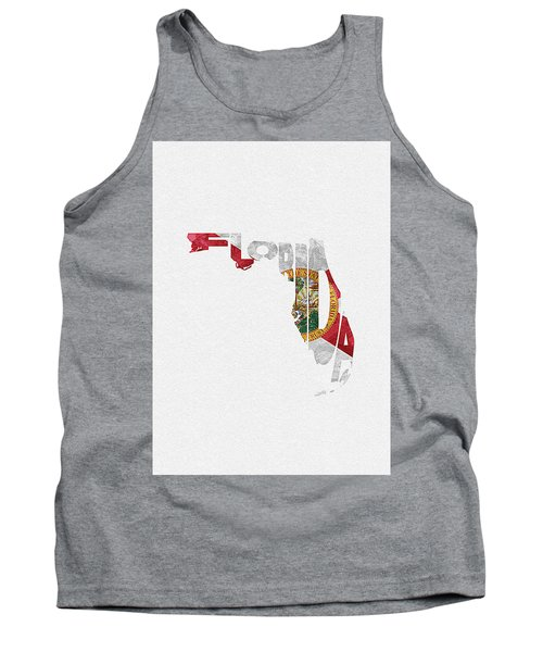 Florida Typographic Map Flag Tank Top
