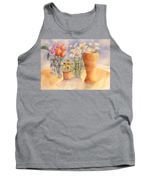 Flowers And Terra Cotta Tank Top