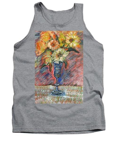 Flowers In Wine Glass Tank Top