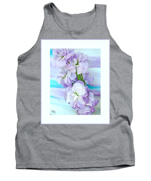 Tank Top featuring the mixed media Fluffy Flowers by Marsha Heiken