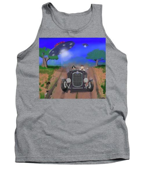 Flying Saucers Attack Teenage Hot Rodders Tank Top