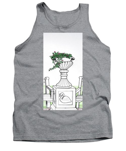Tank Top featuring the drawing Foliage Fountain by Mary Ellen Frazee