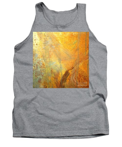Tank Top featuring the mixed media Forest Gold by Michael Rock