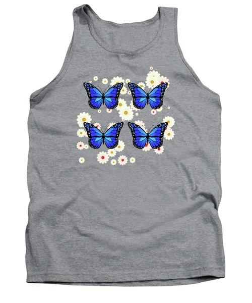 Four Blue Butterflies Tank Top