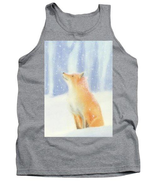 Fox In The Snow Tank Top by Taylan Apukovska