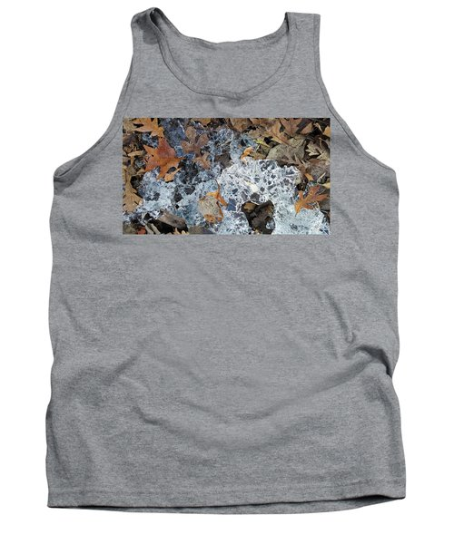Fractured Ice Among Fall Leaves Tank Top