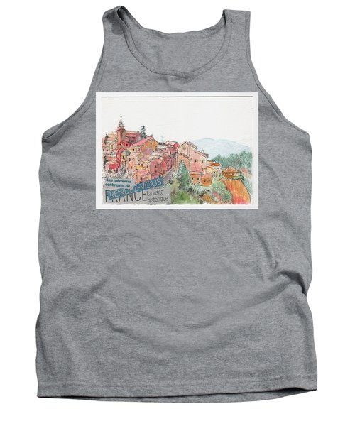 Tank Top featuring the painting French Hill Top Village by Tilly Strauss