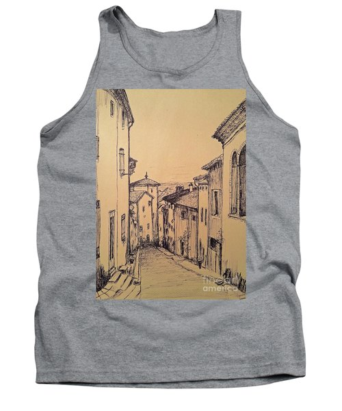 Tank Top featuring the drawing French Little Town Drawing by Maja Sokolowska