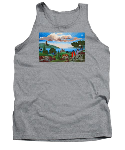 Tank Top featuring the painting From A High Place, Troubles Remain Small by Chholing Taha