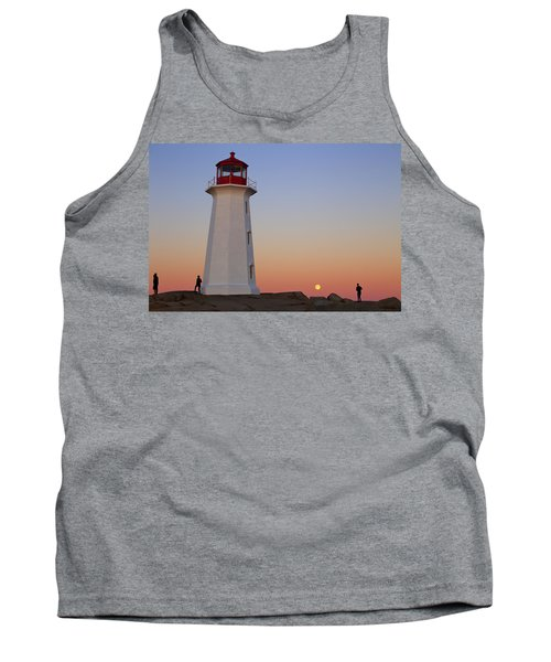 Full Moon At Peggy's Point Lighthouse, Nova Scotia Tank Top