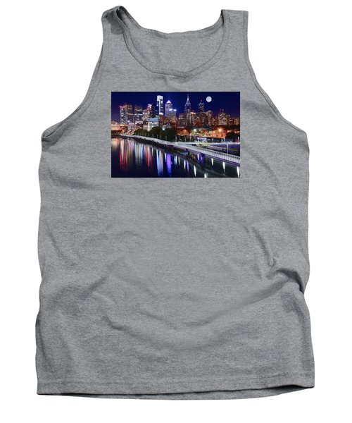 Full Moon Over Philly Tank Top by Frozen in Time Fine Art Photography