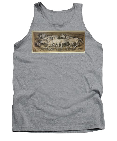 Tank Top featuring the drawing Galloping Stallions by Debora Cardaci