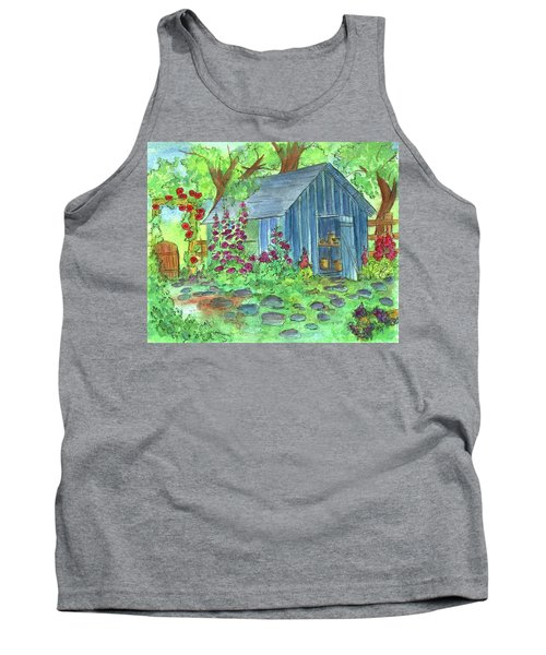 Tank Top featuring the painting Garden Potting Shed by Cathie Richardson