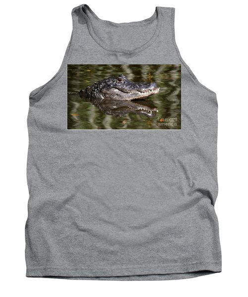 Gator With Dragonfly Tank Top by Myrna Bradshaw