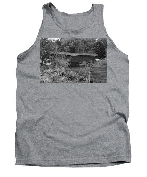 Tank Top featuring the photograph Geiger Covered Bridge B/w by Jennifer Ancker