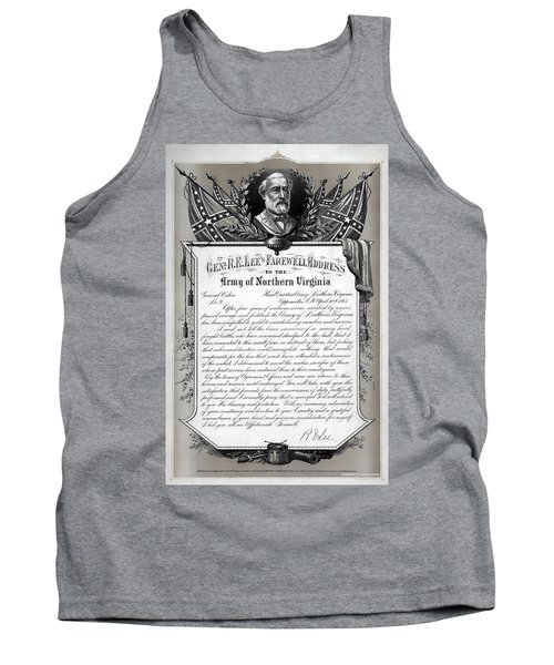 Tank Top featuring the mixed media General Robert E. Lee's Farewell Address To Confederate Soldiers by Daniel Hagerman