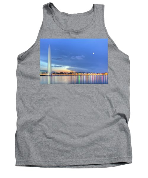Geneva Lake With Famous Fountain, Switzerland, Hdr Tank Top