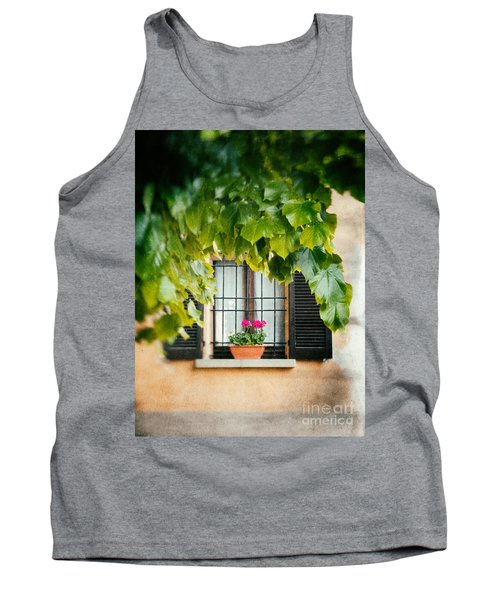 Tank Top featuring the photograph Geraniums On Windowsill by Silvia Ganora