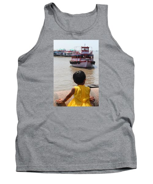 Girl In Yellow Dress W/leaf In Hair Looking At Boats Tank Top by Jennifer Mazzucco