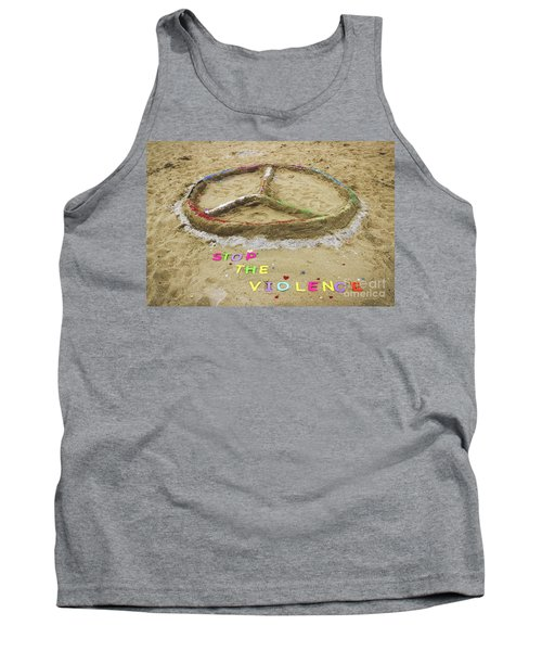 Tank Top featuring the photograph Give Peace A Chance - Sand Art by Colleen Kammerer