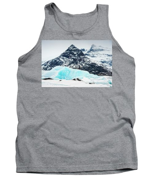 Glacier Landscape Iceland Blue Black White Tank Top by Matthias Hauser